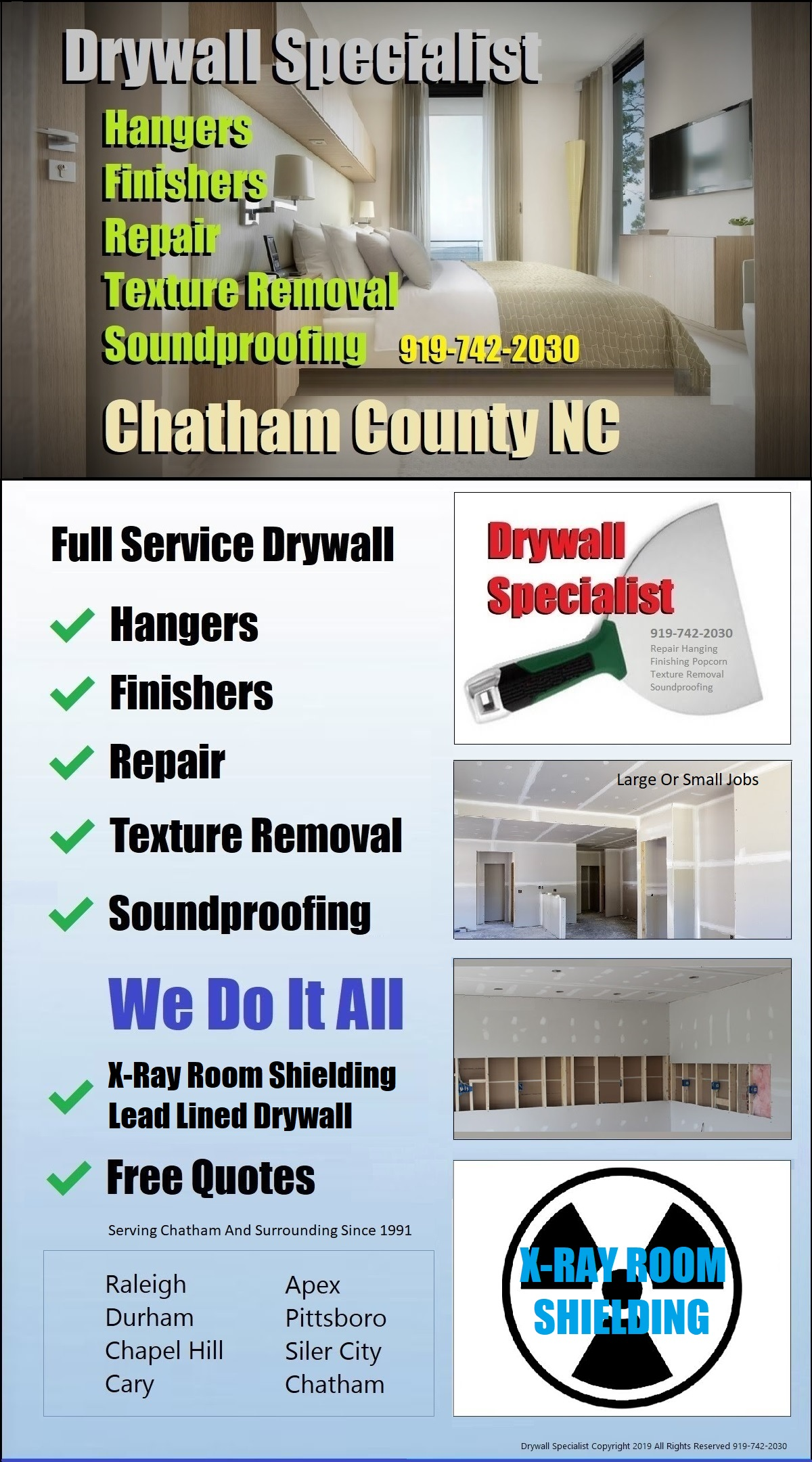 919-742-2030 Drywall Finisher Refinishing Work | Chapel Hill