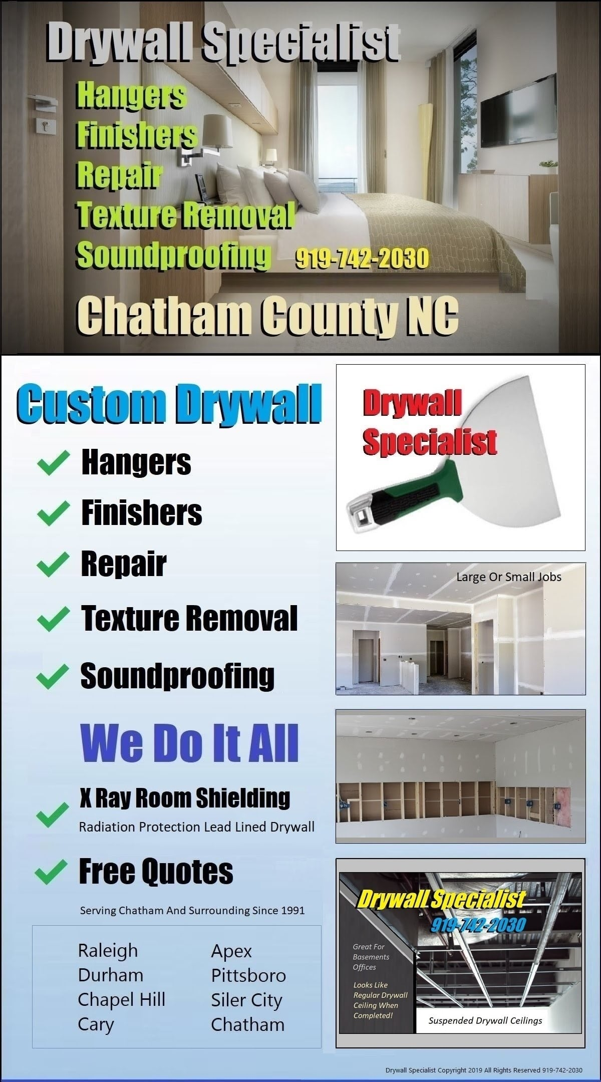 Nextdoor #DrywallTapingChapelHIll Hanger Finisher Repair And Popcorn Texture Removal Soundproofing Contractor | North Carolina