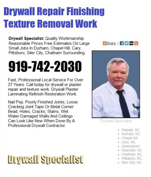 Chatham County Drywall Repair Finishing Texture Removal